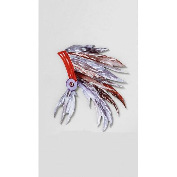 Ξύλινο Ινδιάνικο Καπέλο Με Φτερά - Z-37-067