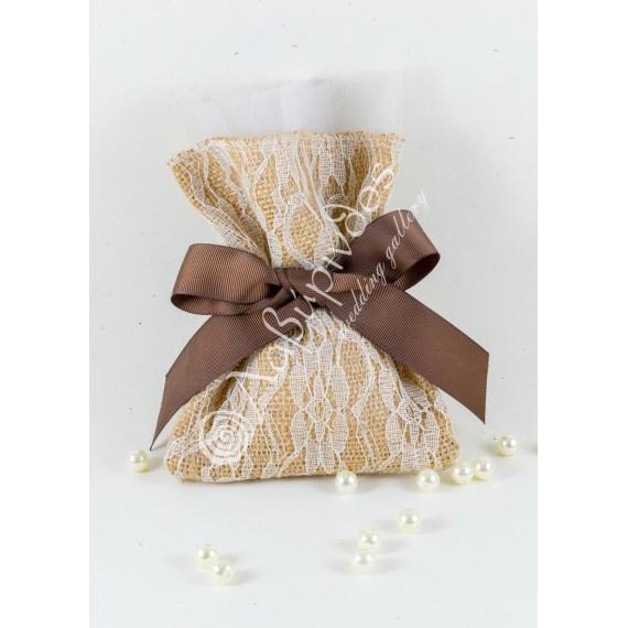 Μπομπονιέρα Γάμου Πουγκί Λινάτσας Δαντέλα - LWG-11259