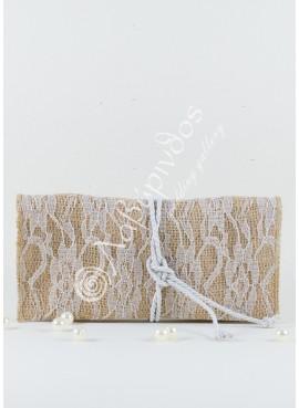 Μπομπονιέρα Γάμου Φάκελος Λινάτσα Δαντέλα - LWG-11271