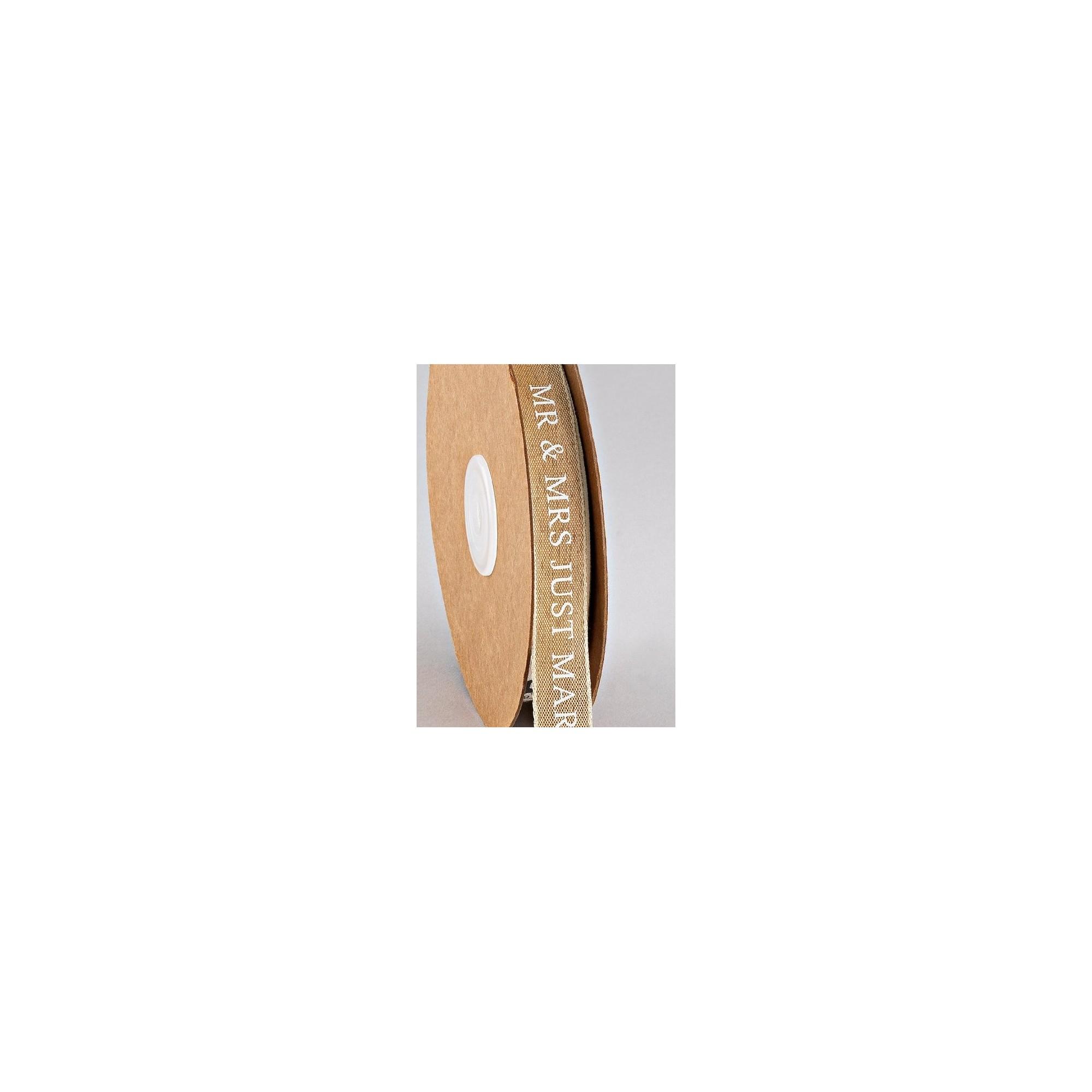 """Κορδέλα Υφασμάτινη Τυπωμένη """"MR & MRS JUST MARRIED"""" 15 mm - PE-17269"""