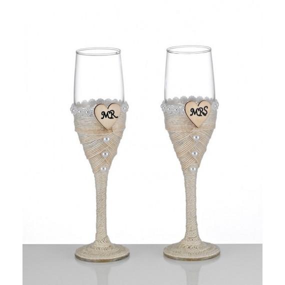Ποτήρια Γάμου Στολισμένα με Πέρλες (Σετ/2) - BT-8660