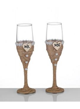 Ποτήρια Γάμου Στολισμένα με Πέρλες (Σετ/2) - BT-8662