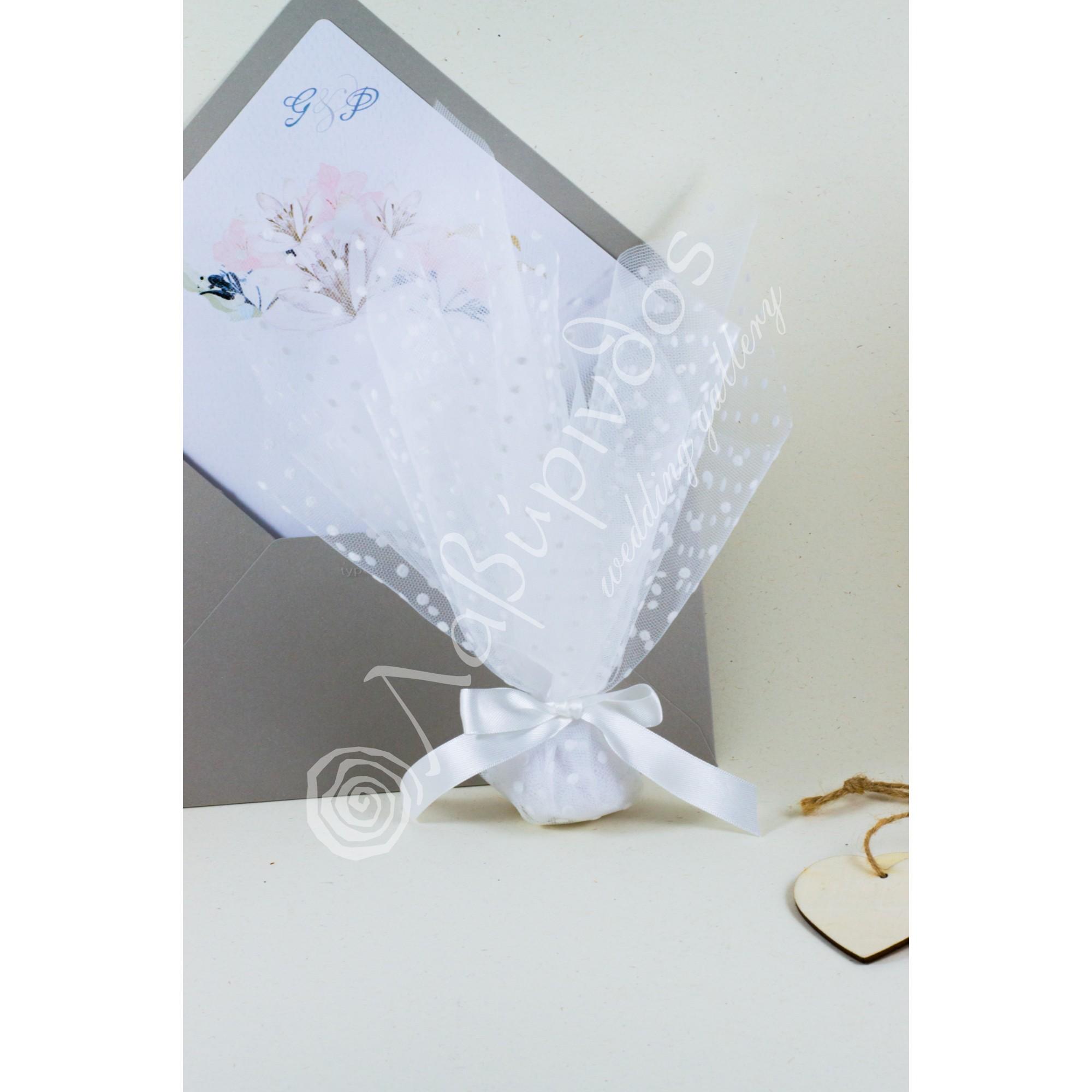 Μπομπονιέρα Γάμου με πουά τούλι - LWG-11279