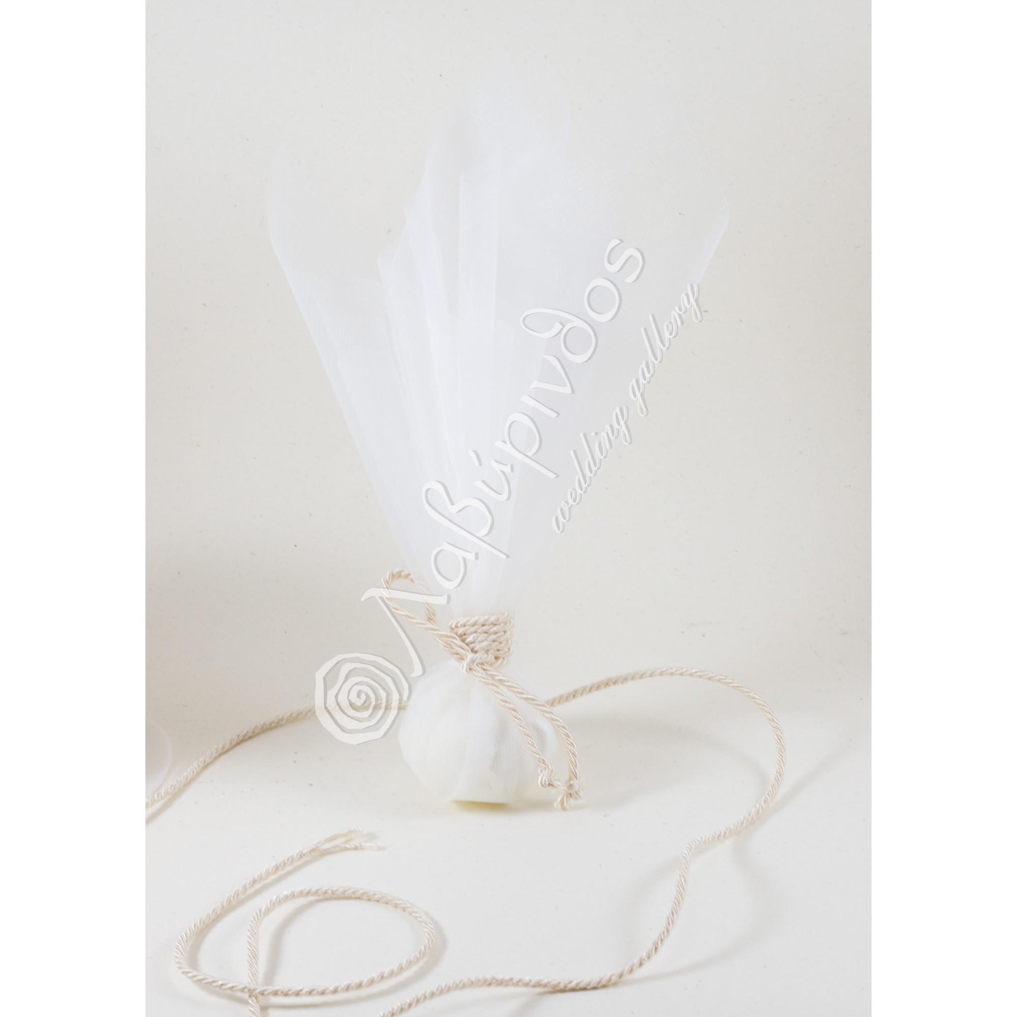 Μπομπονιέρα Γάμου ιβουάρ με τρίκλωνο κορδόνι - LWG-11280
