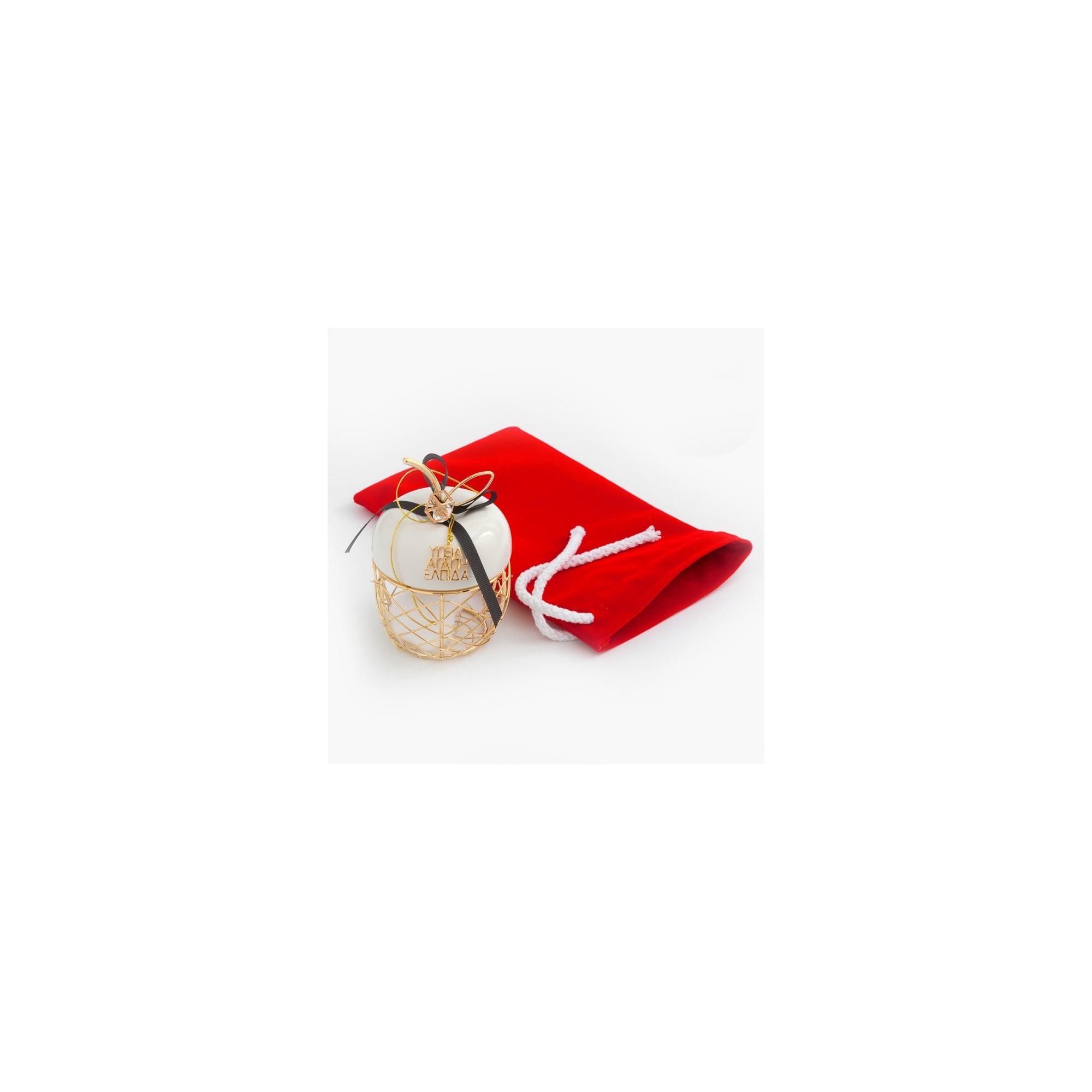 Χριστουγεννιάτικο γούρι με βελούδινο πουγκί - PAR-19242