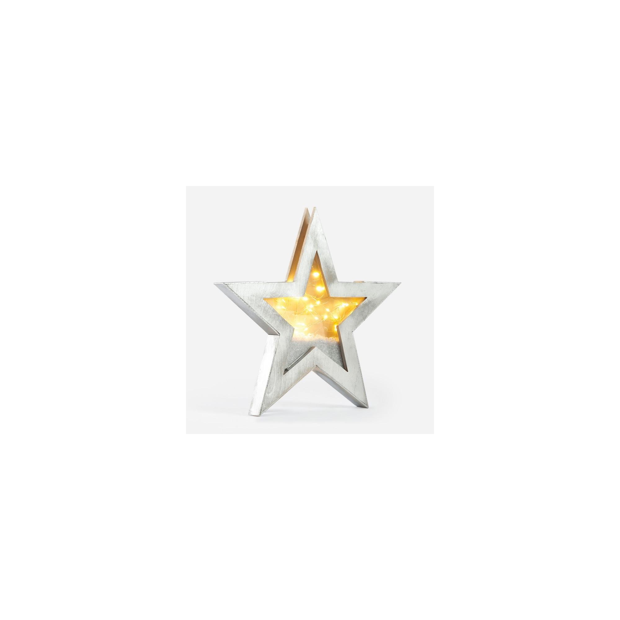 Ξύλινο διακοσμητικό αστέρι με led φωτάκια - PAR-19224