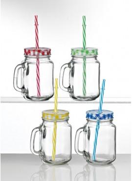 Γυάλινα Ποτήρια Μίνι με Καλαμάκι και Χερούλι (Σετ) - B202-8543
