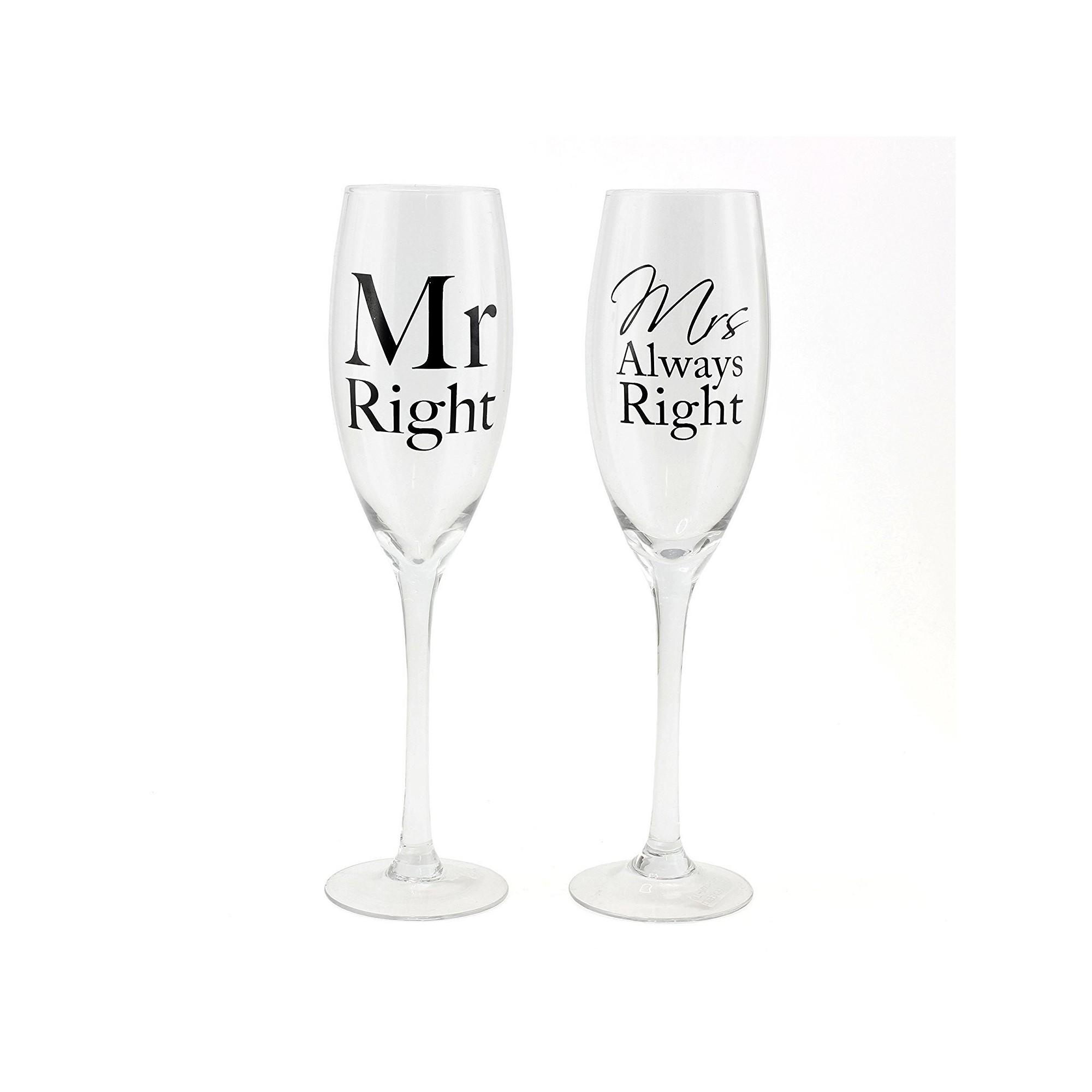 """Ποτήρια Σαμπάνιας """"Mr Right & Mrs Always Right"""" (ΣΕΤ/2) - LWG-2589"""
